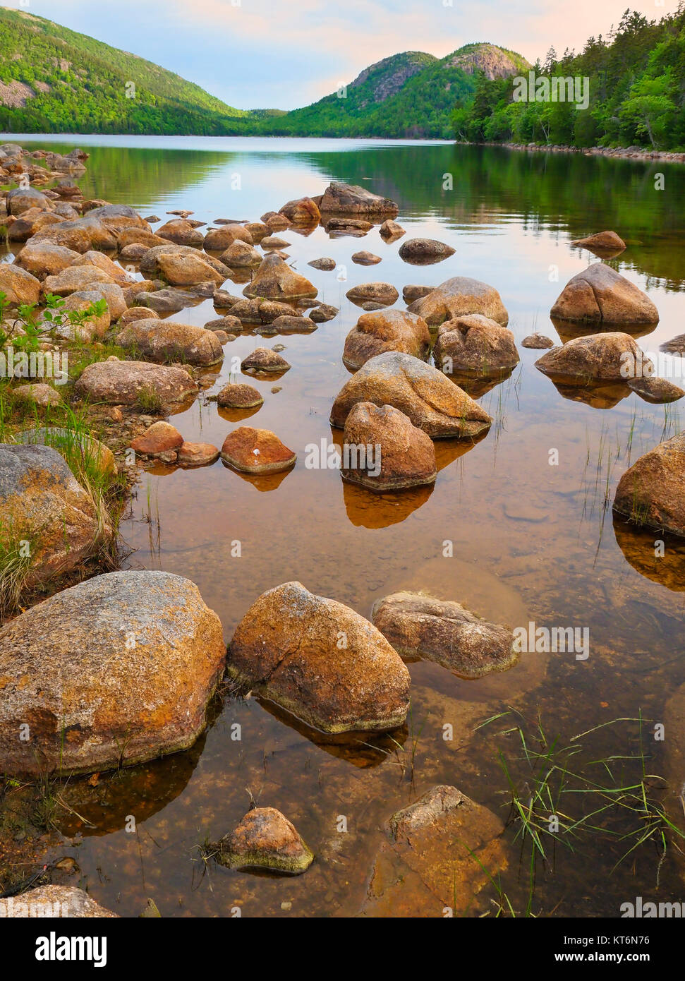 Jordan Pond Shore Trail, Acadia National Park, Mount Desert Island, Maine, USA - Stock Image