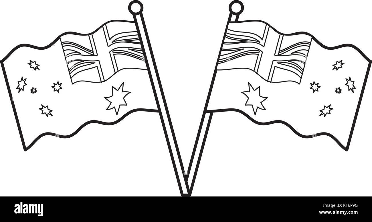 flags  of australia  vector illustration - Stock Image