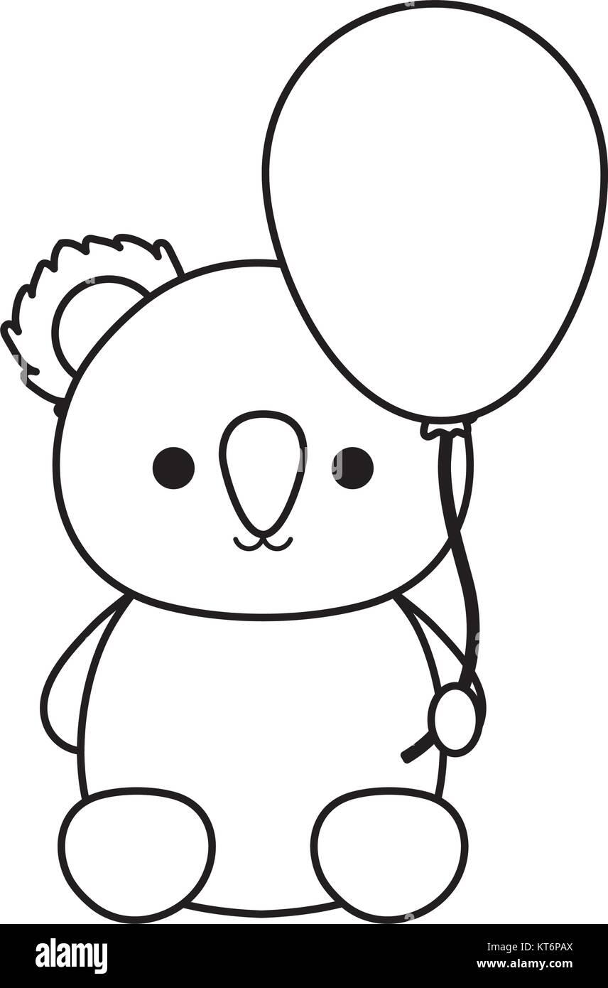 koala with balloon  vector illustration - Stock Image