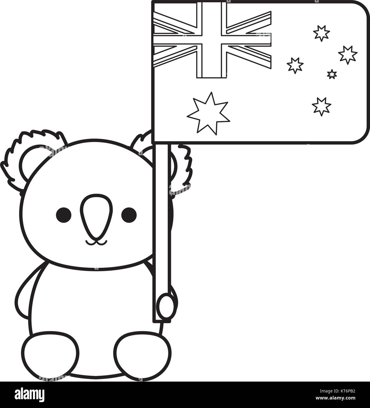 koala with flag of australia  vector illustration Stock Vector