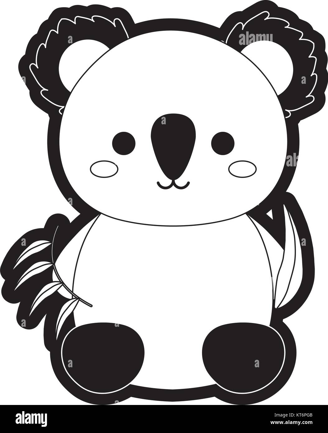 koala with eucalyptus leaves vector illustration - Stock Vector