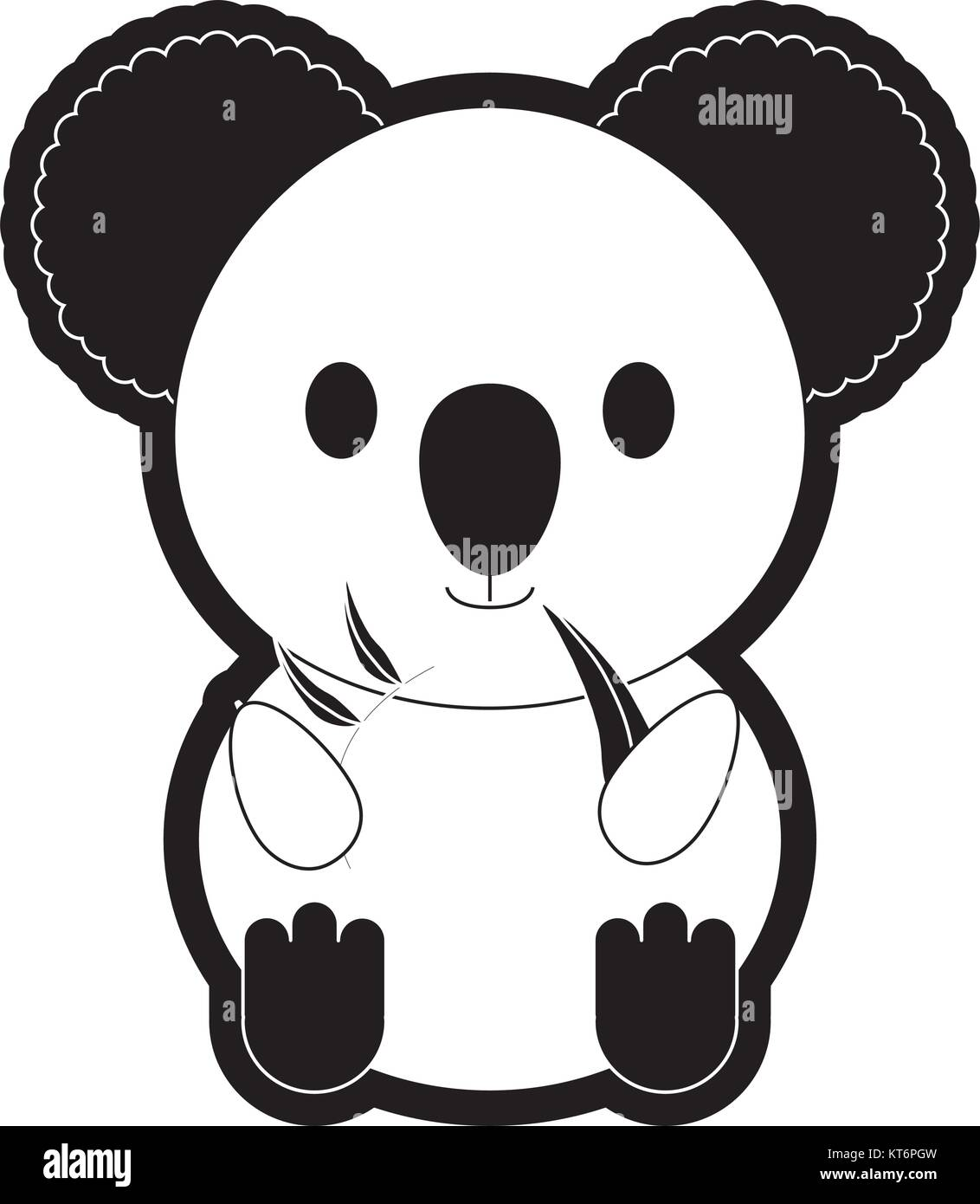 koala with eucalyptus leaf  vector illustration - Stock Vector