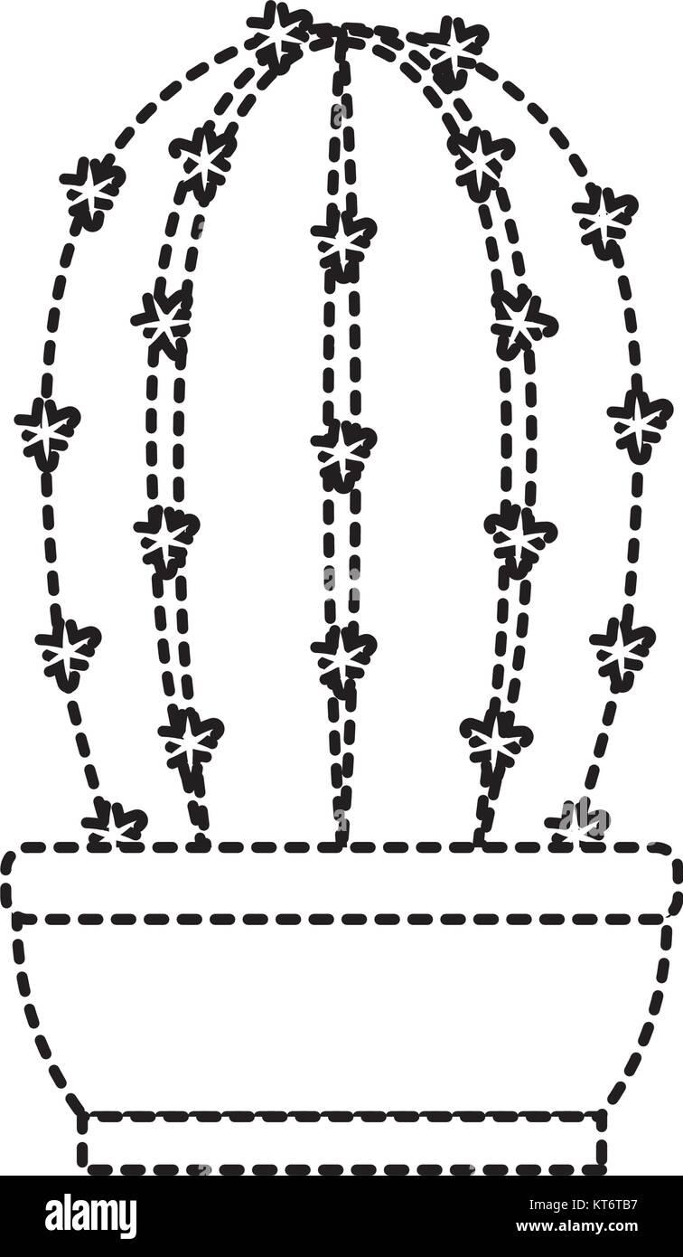 Cactus In Pot Draw Stock Vector Art Illustration Vector Image
