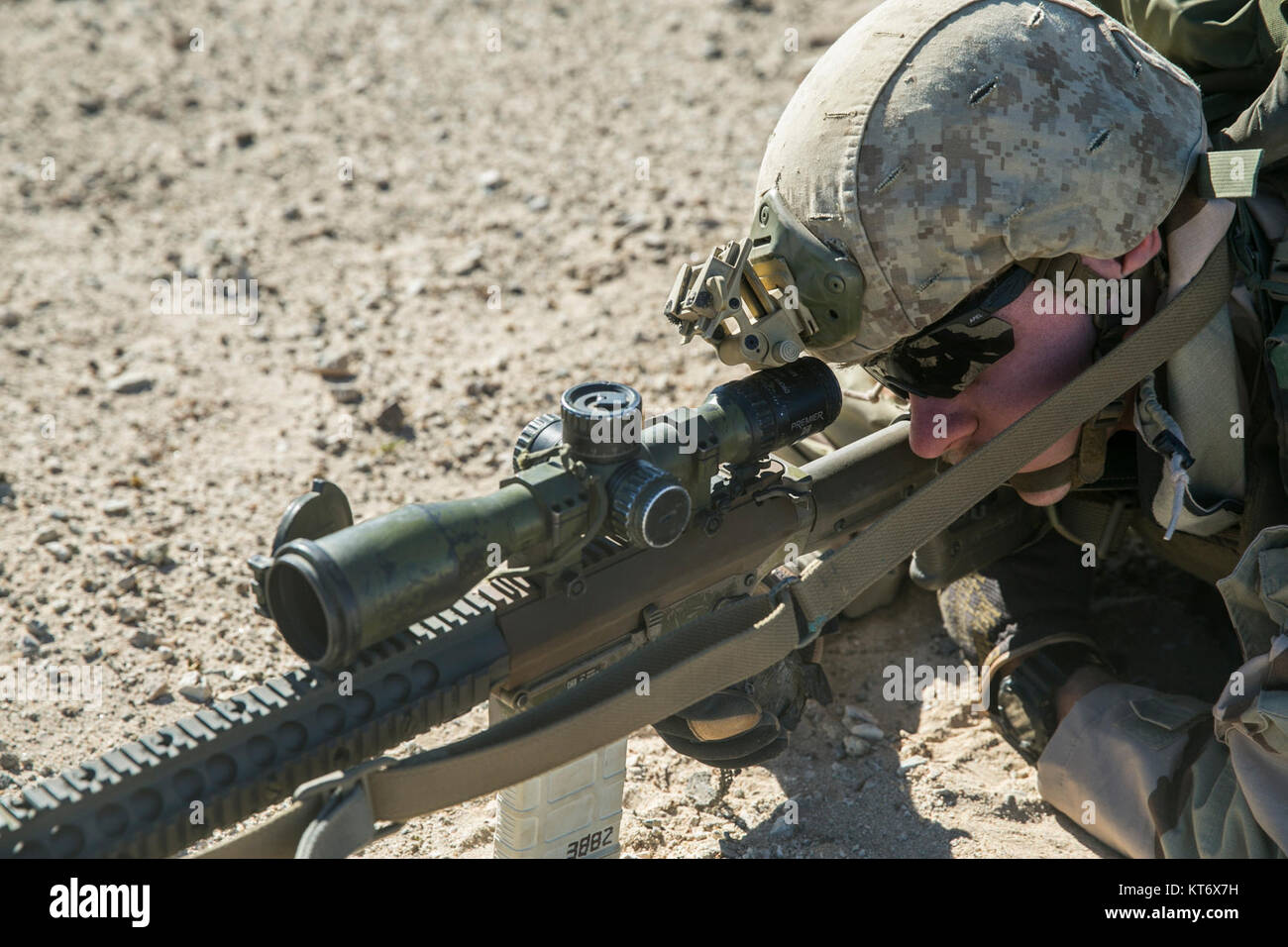 U.S. Marine Corps Lance Cpl. Gregory Kramers, a rifleman with 2nd Battalion, 5th Marine Regiment, 1st Marine Division - Stock Image