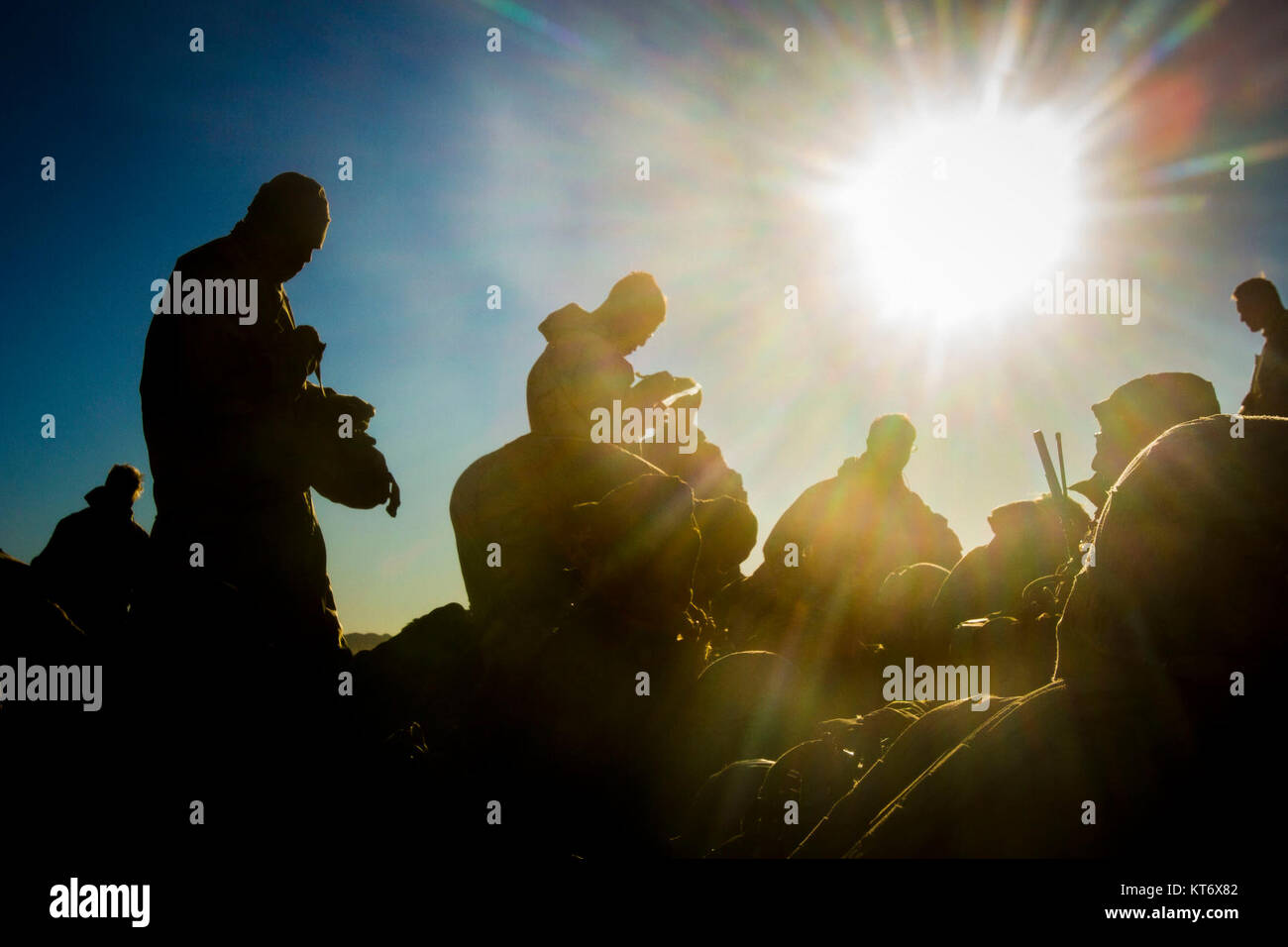 U.S. Marines with 2nd Battalion, 5th Marine Regiment, 1st Marine Division, prepare to depart a landing strip during - Stock Image