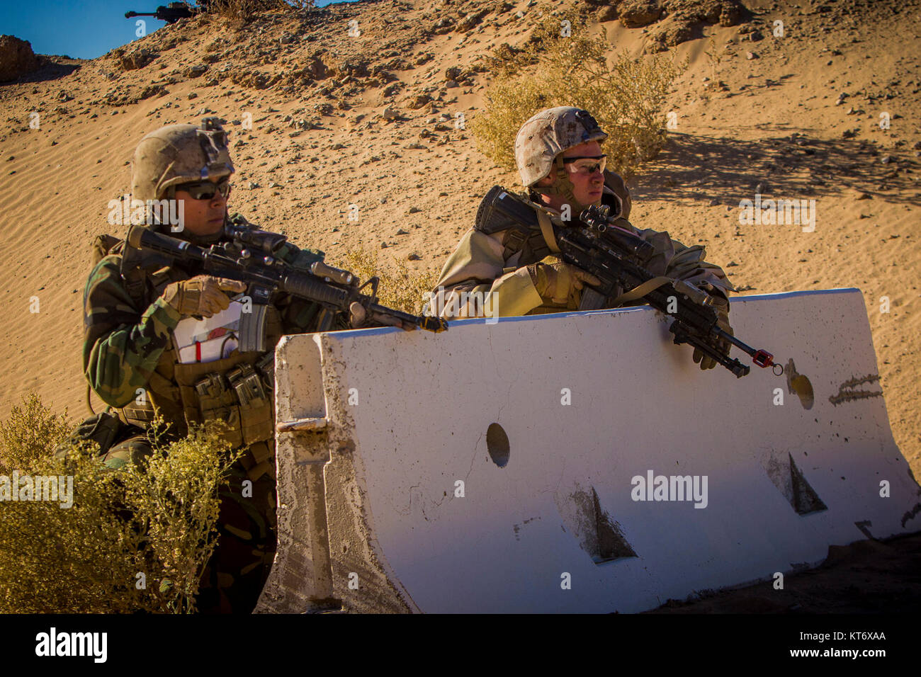 U.S. Marines with 2nd Battalion, 5th Marine Regiment, 1st Marine Division, post security during an air assault as - Stock Image