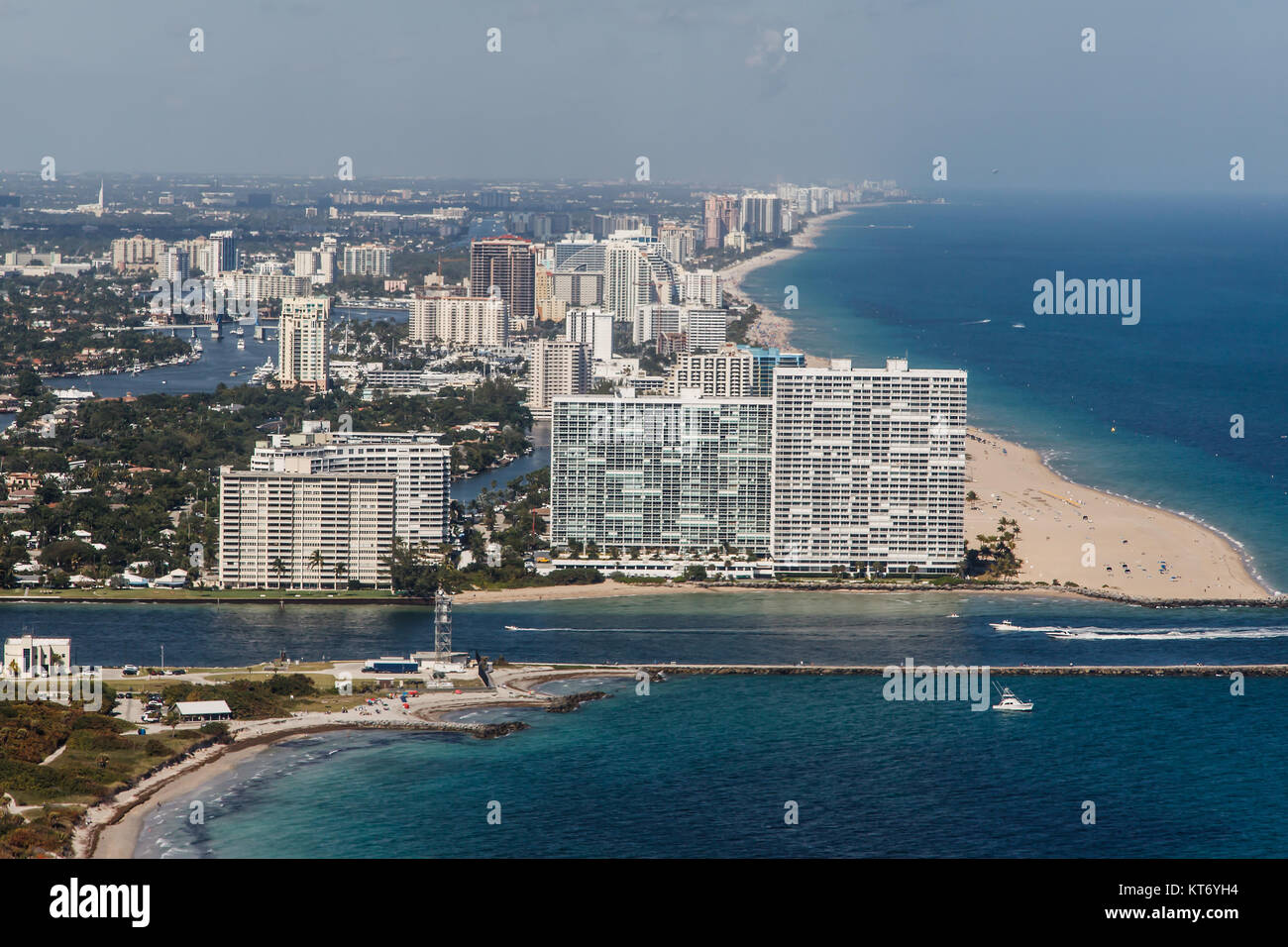 Fort Lauderdale beach facing north from Port Everglades Stock Photo