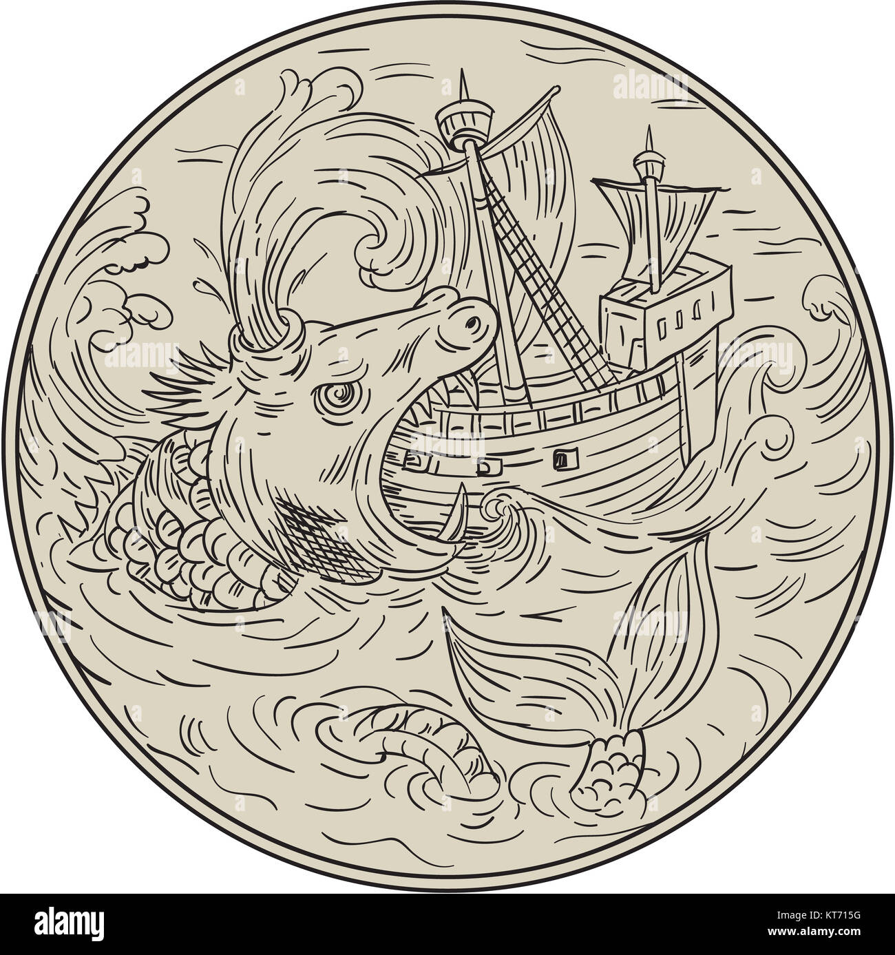 Ancient Sea Monster Attacking Sailing Ship Circle Drawing Stock Photo