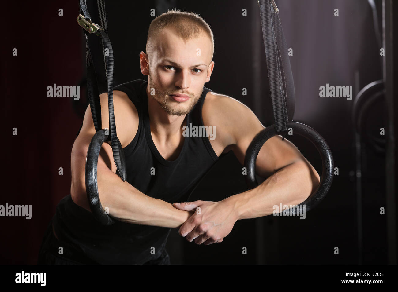 Male Athlete With Gymnastic Rings - Stock Image