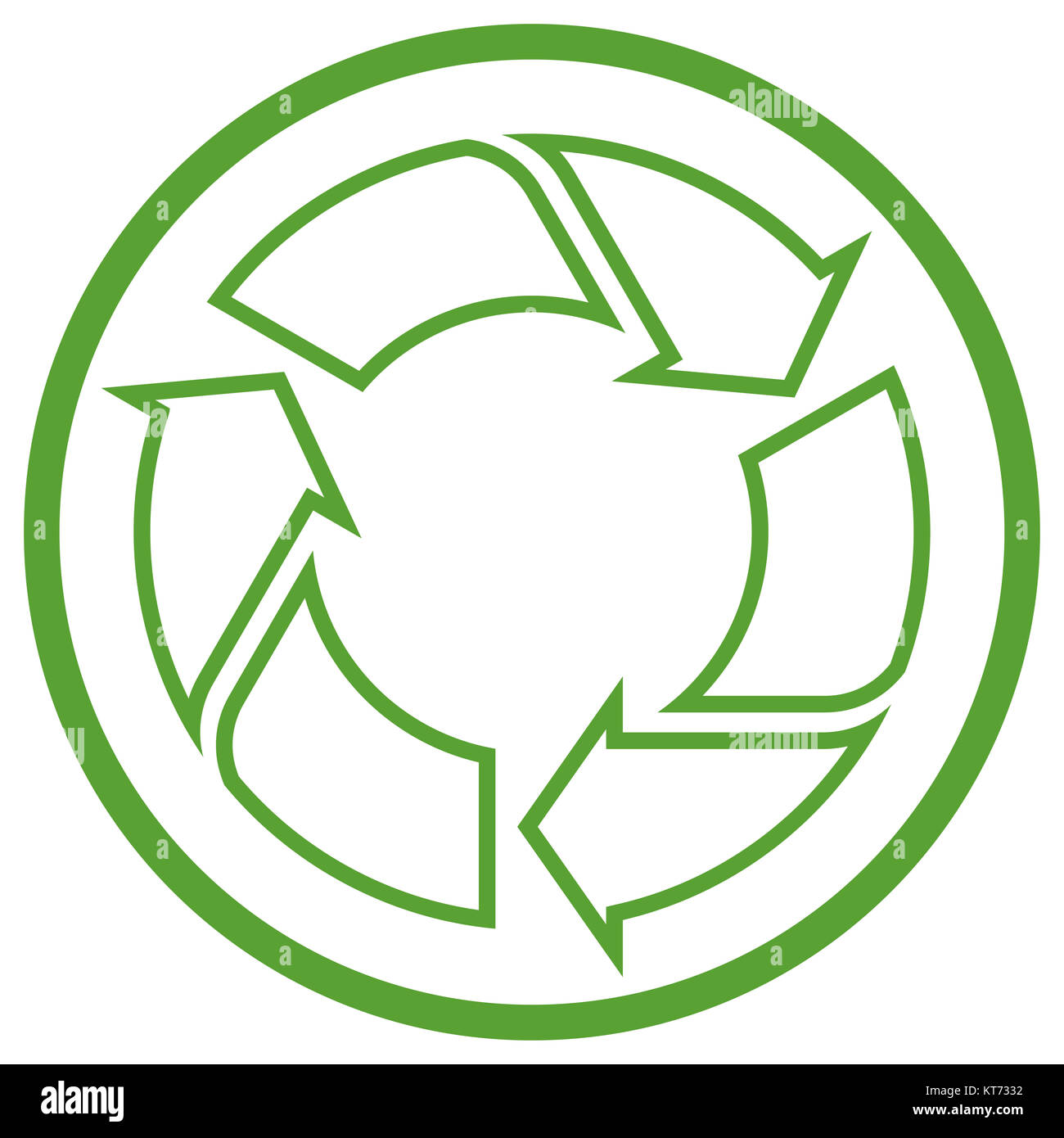 green recycling sign in circle isolated on white background Stock Photo