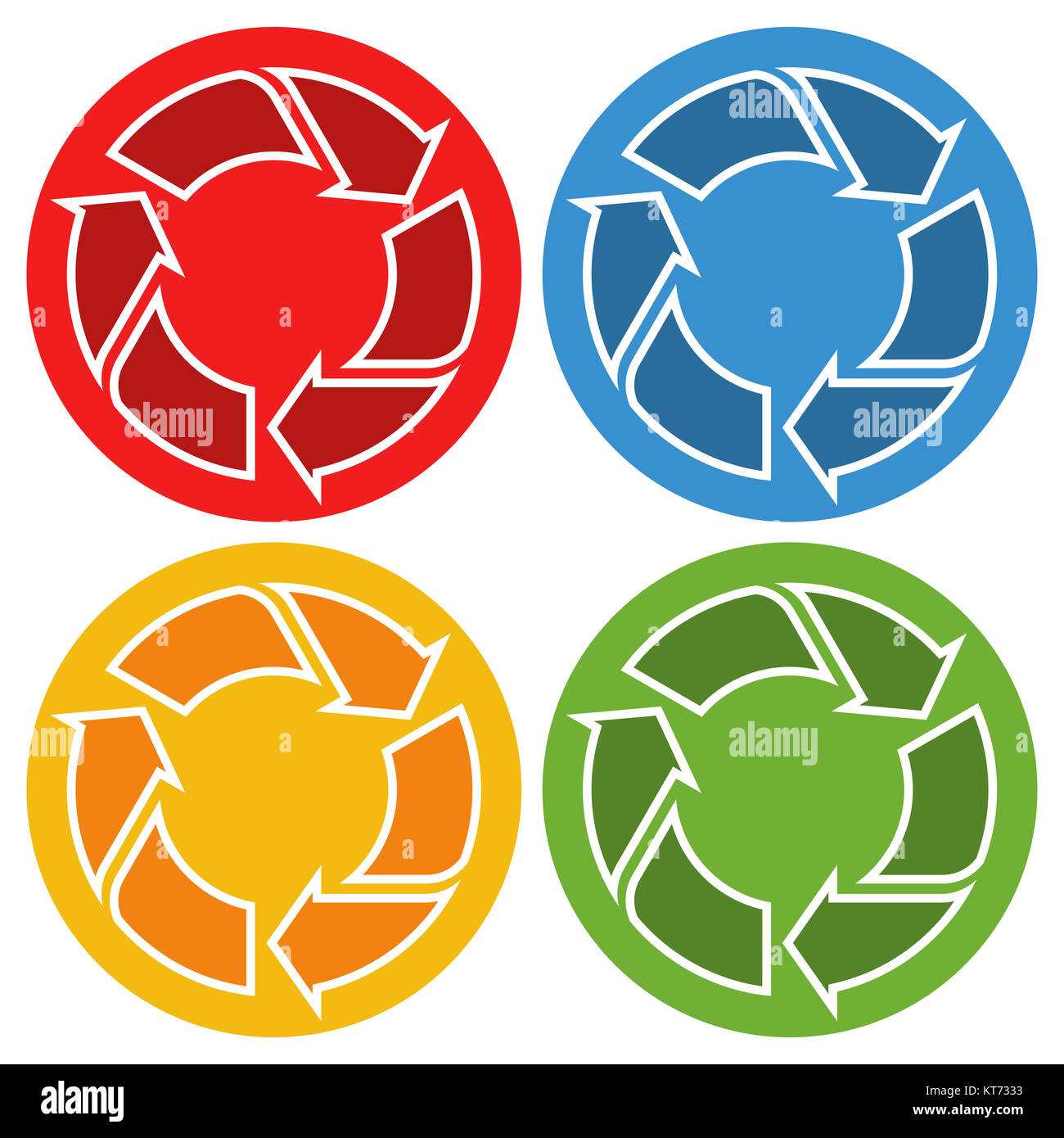 colored recycling signs in circle isolated on white background Stock Photo
