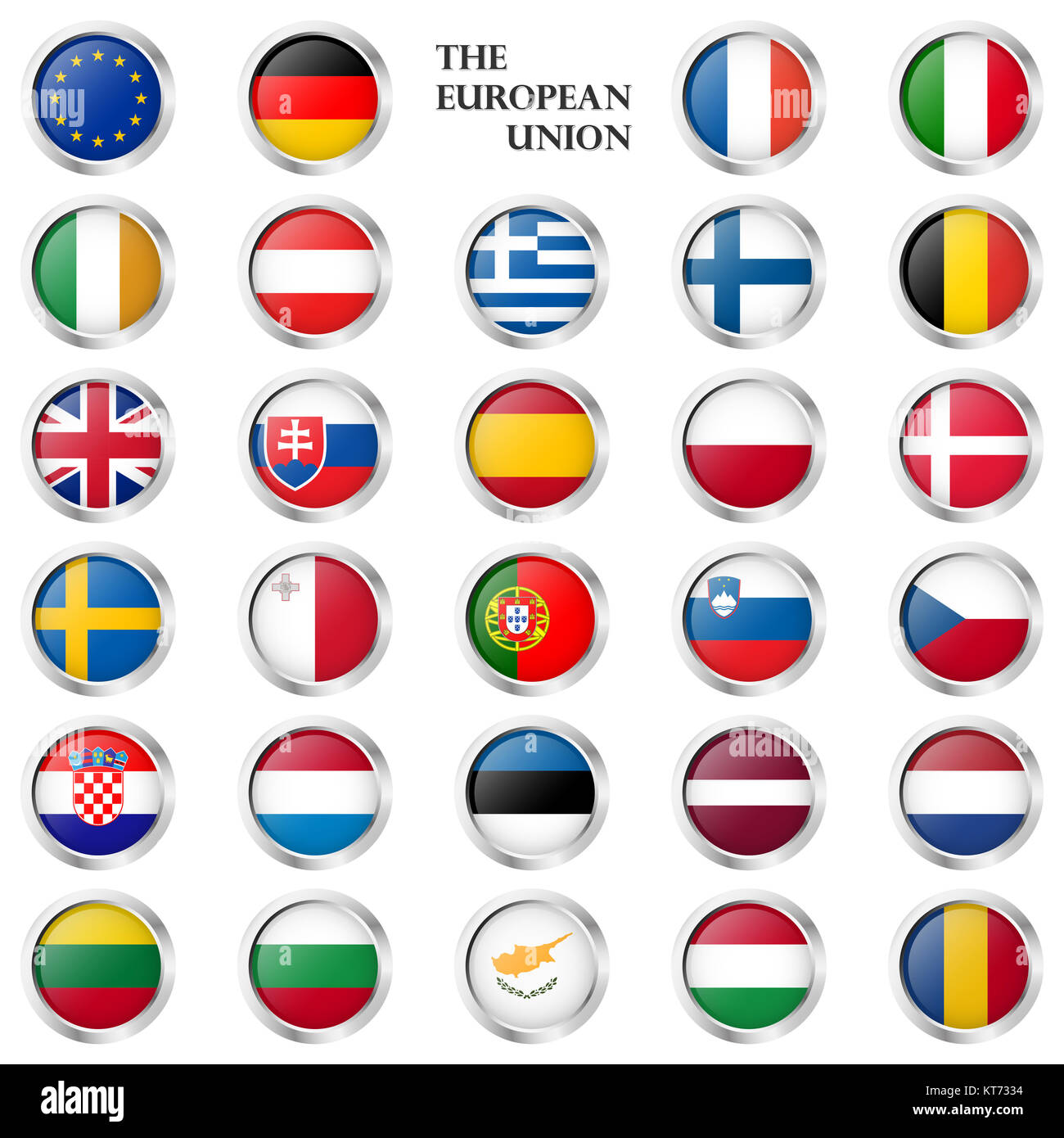 collection of round buttons with different EU country flags and silver frame - Stock Image