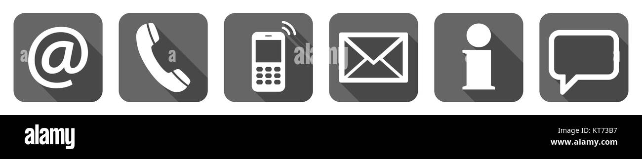 Contact Us, set of six white icons in gray boxes Stock Photo