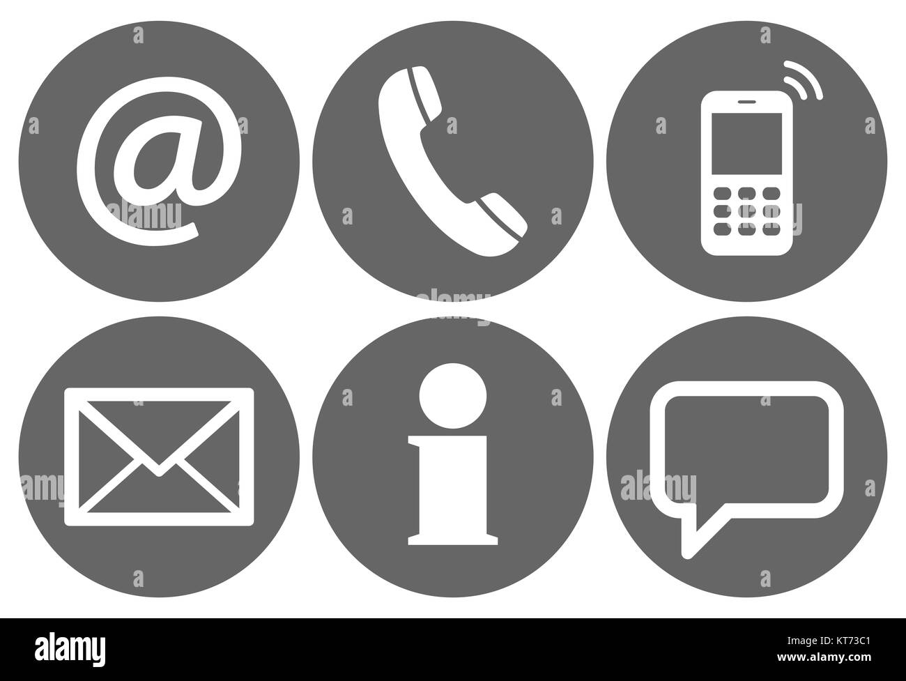 Contact Us, set of six white icons in gray circles Stock Photo
