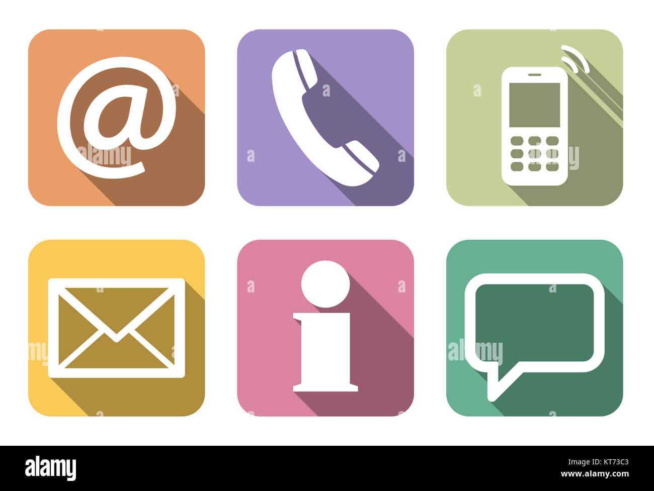 Contact Us, set of six white icons in colored boxes Stock Photo