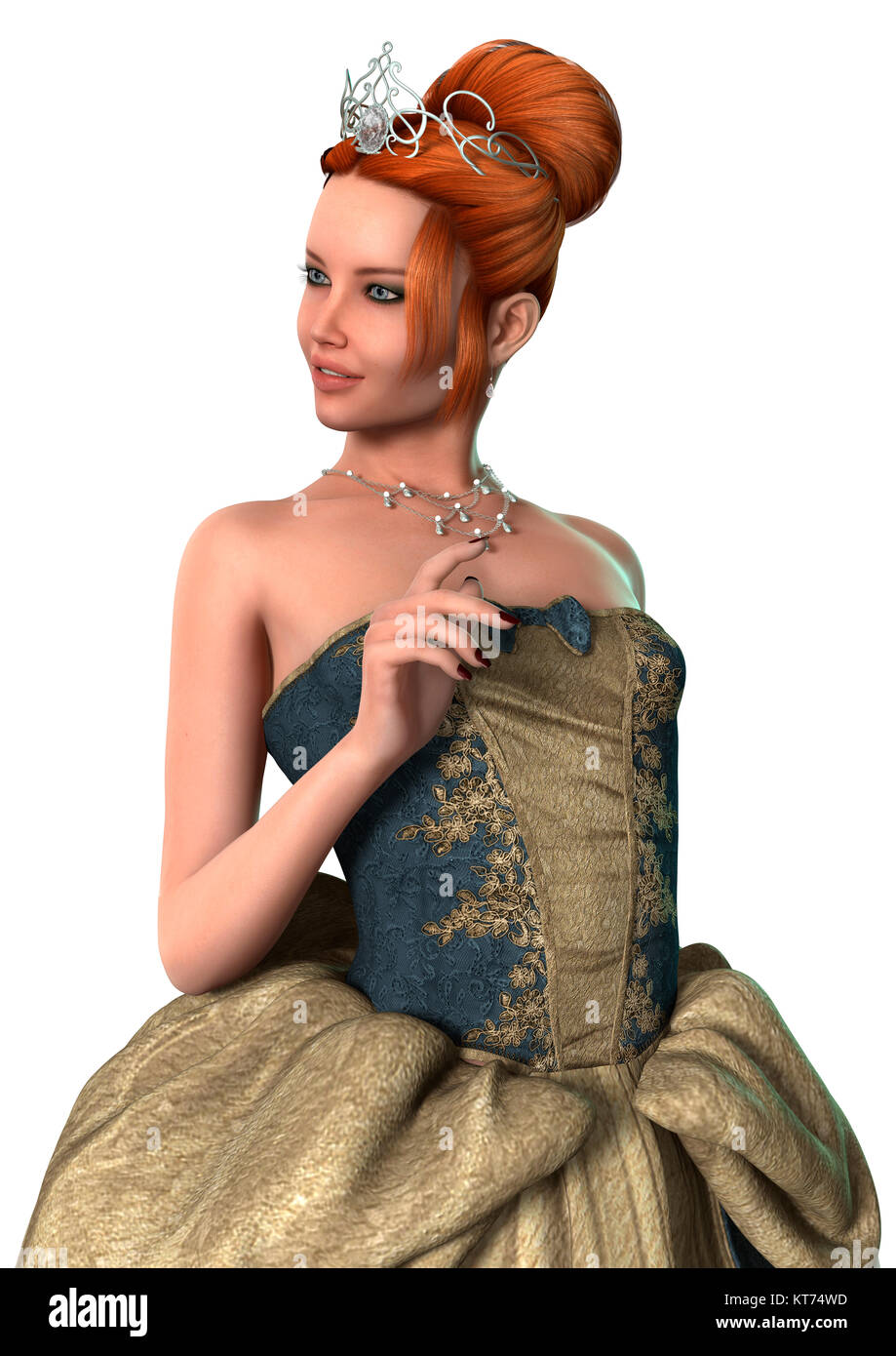 3D Rendering Fairytale Princess on White - Stock Image