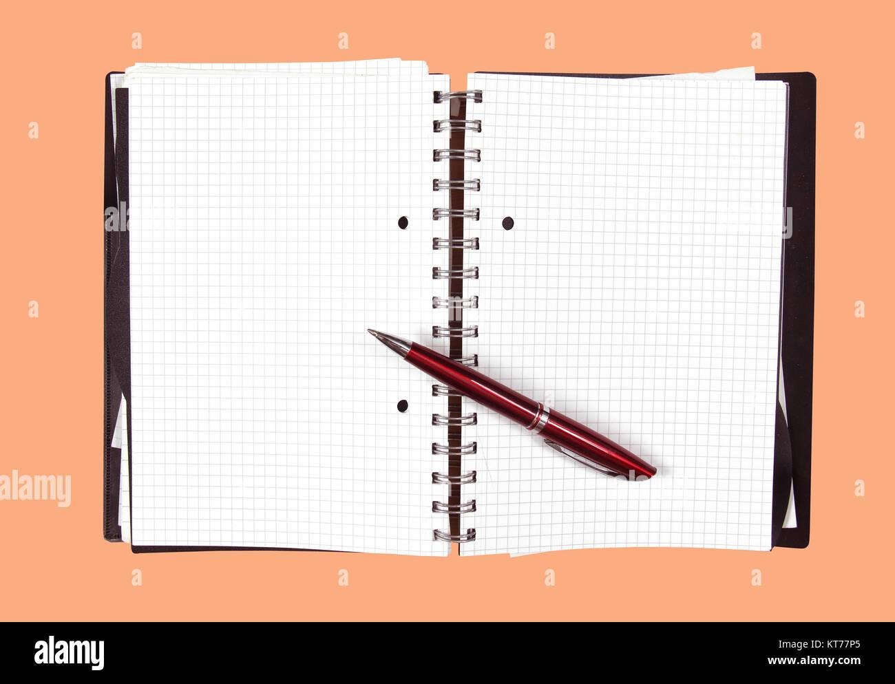 Open notebook pen Stock Photo