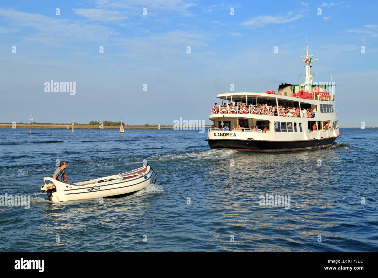 Venetian Lagoon, S.ANDREA vaporetto ferry line ship - Stock Image