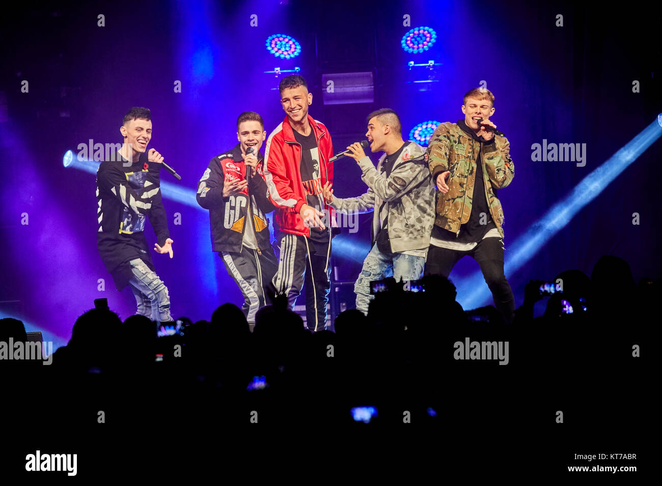 Christmas lights switch on 2017 at albert Square in Manchester city centre X Factor success story Yes Lad 5 peace - Stock Image