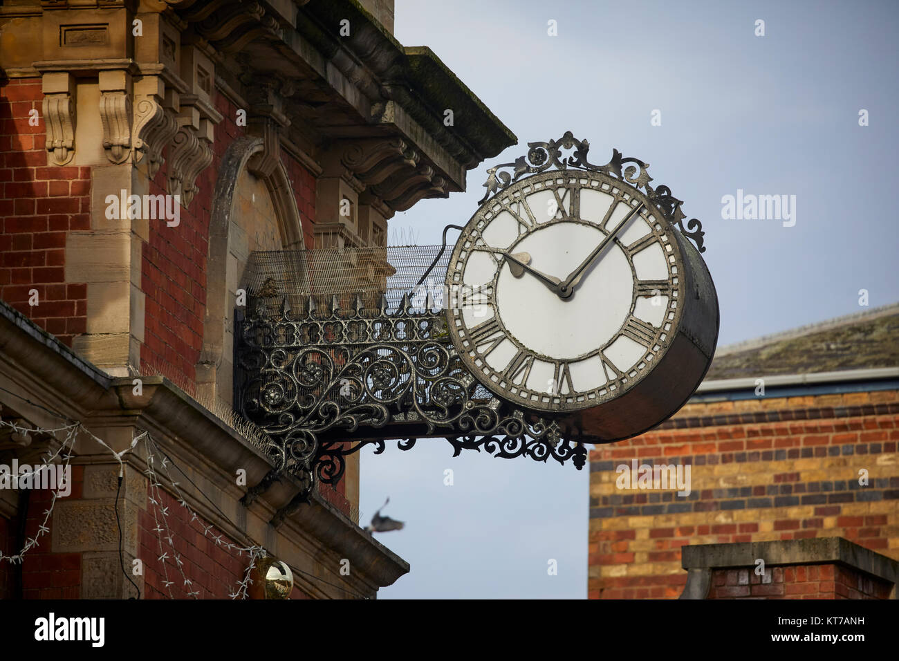Kidderminster town hall clock  above Vicar Street , Worcestershire, the the heart of the town centre - Stock Image