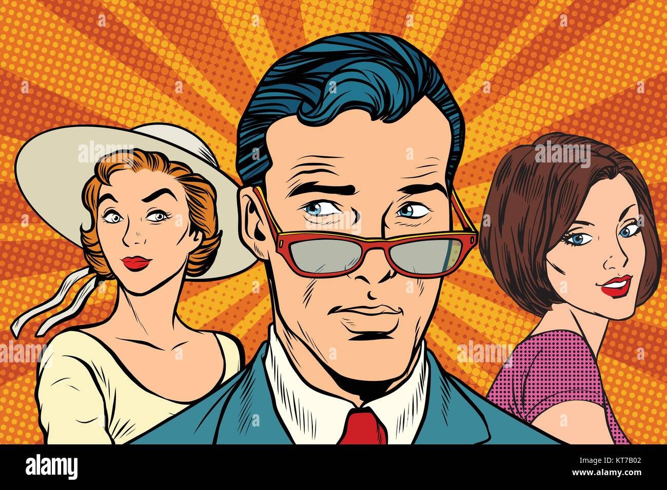 Handsome man choosing between two women - Stock Vector