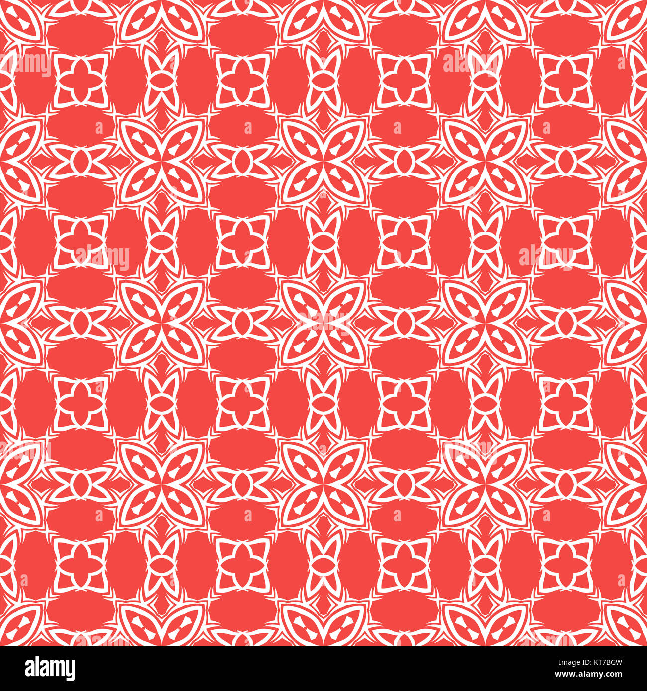 Decorative Retro Seamless Red Pattern - Stock Image