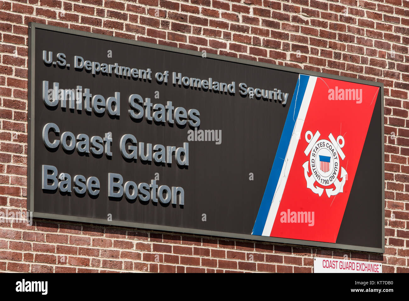 Boston, MA, USA 05.09.2017 Sign of The US Coast Guard Home Base Boston on sunny day - Stock Image