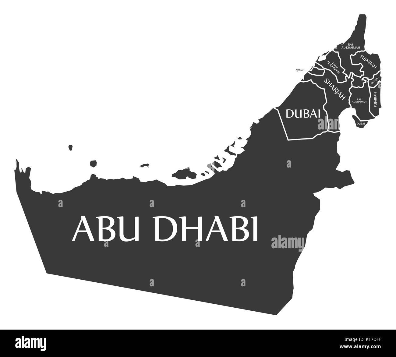 United Arab Emirates Map labelled black illustration - Stock Image