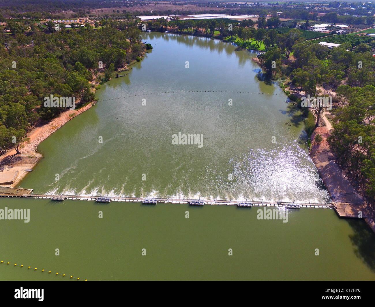 Aerial view of Mildura Weir. Location: River Murray, Mildura, Victoria. Murray River Locks. - Stock Image