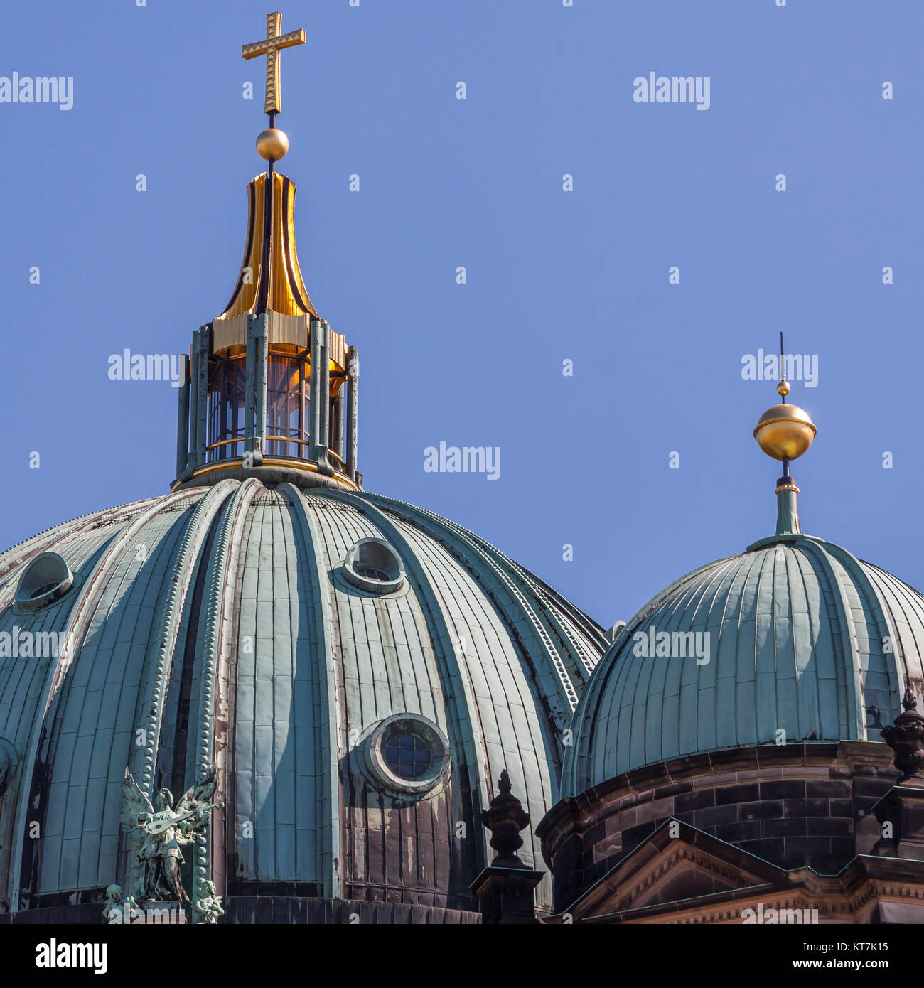 main dome and side dome of the berlin cathedral - Stock Image