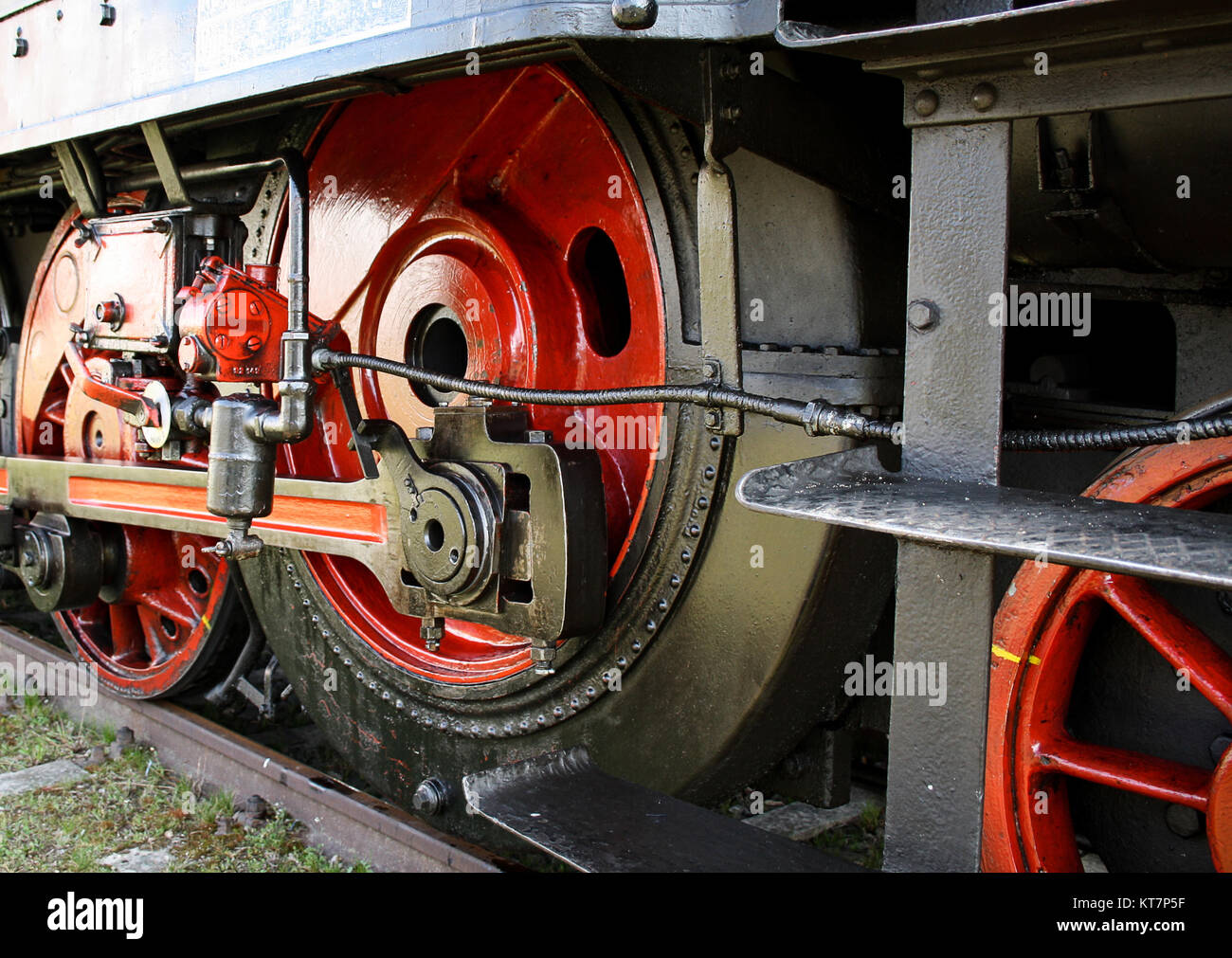 wheels of an old steam engine - Stock Image