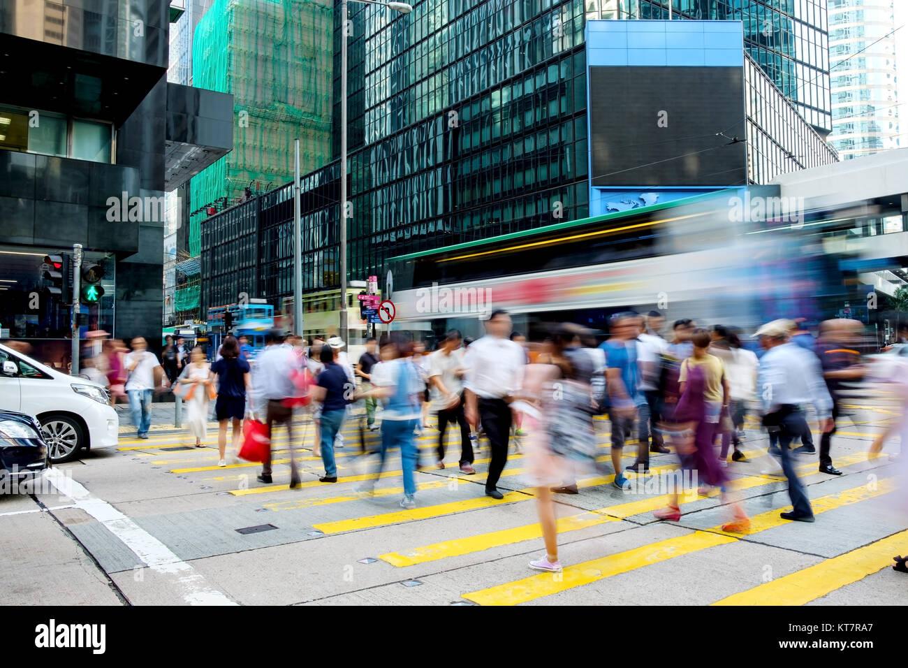 Busy pedestrian crossing at Hong Kong Stock Photo