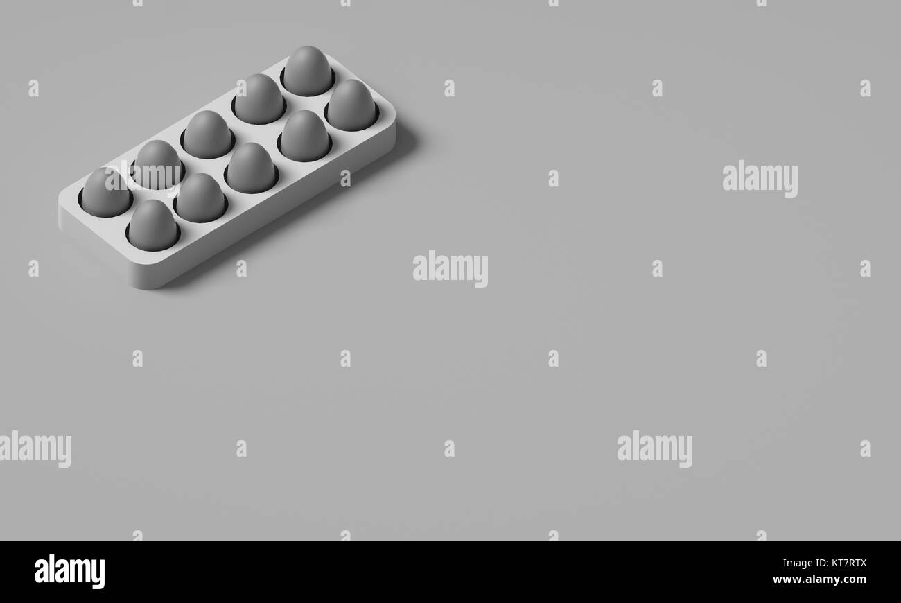 EGGS IN AN EGG BOX - Stock Image