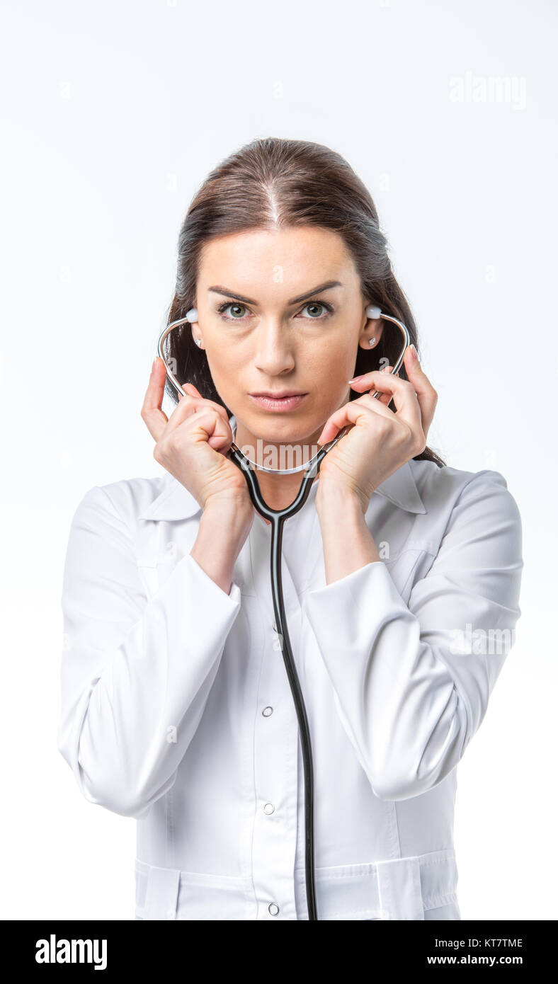 Female doctor with stethoscope - Stock Image