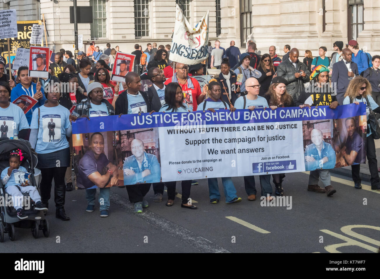 The 'Justice for Sheku Bayoh campaign' and others on the annual march by Families and friends of people - Stock Image