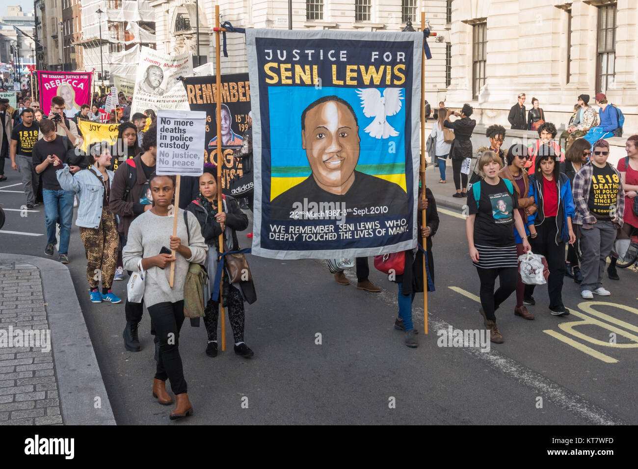 More banners on the annual march by Families and friends of people killed by police or in custody. - Stock Image