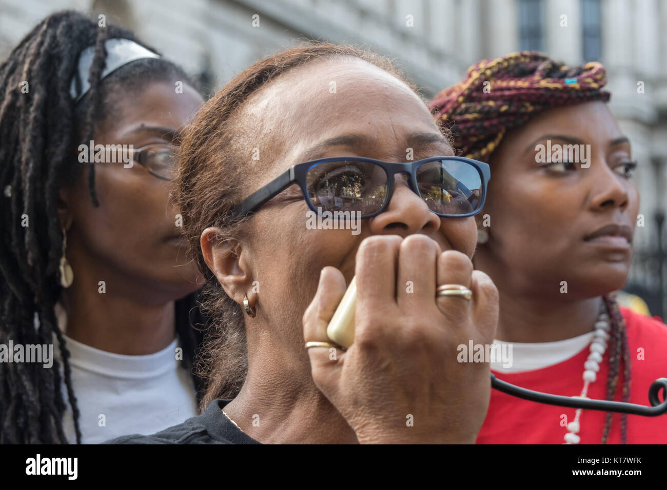 Stephanie Lightfoot-Bennet  (speaking) at the annual rally by Families and friends of people killed by police or - Stock Image