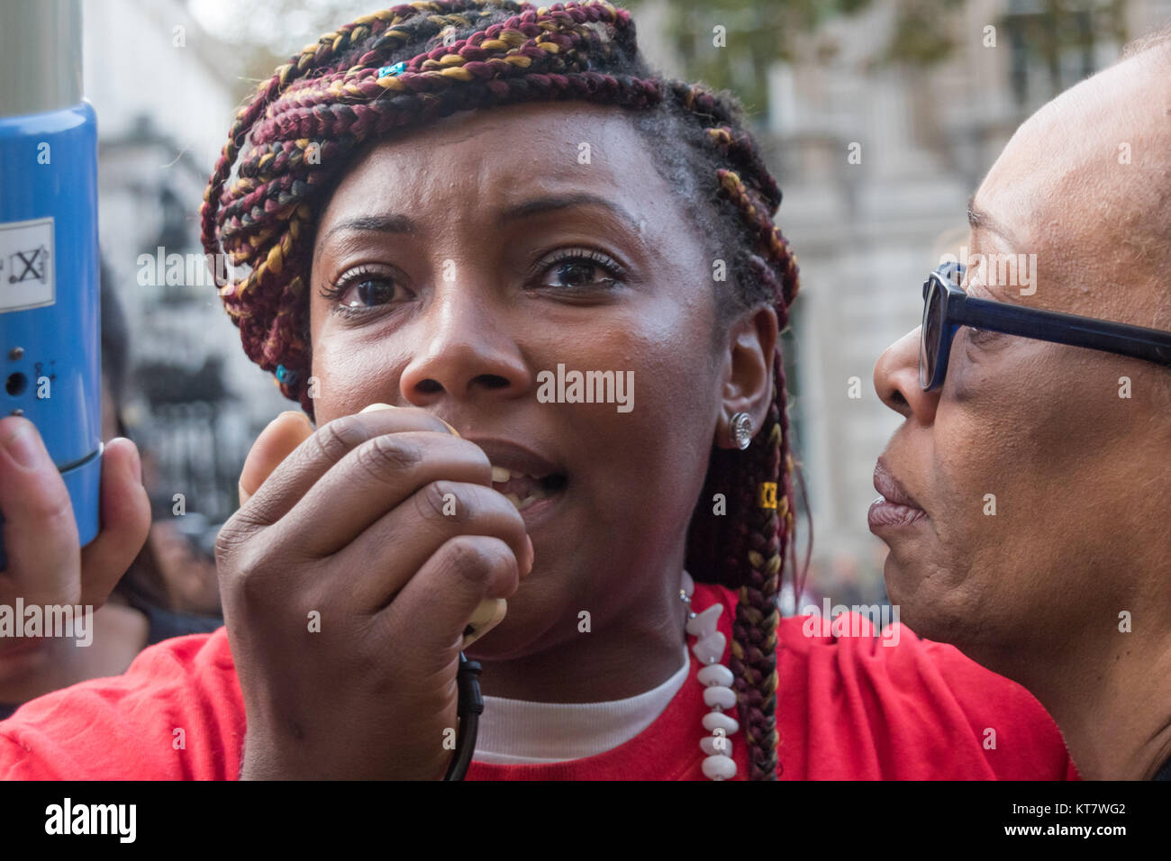 Kadisha Brown-Burrell, whose brother Kingsley died in police custody in 2011 speaking at the rally by United Friends - Stock Image