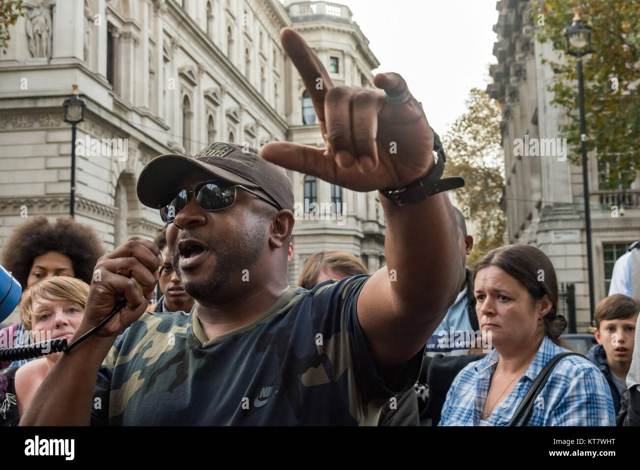 Shaun Hall, the brother of Mark Duggan, shot by police in 2011, speaks at the rally by United Friends and Family - Stock Image