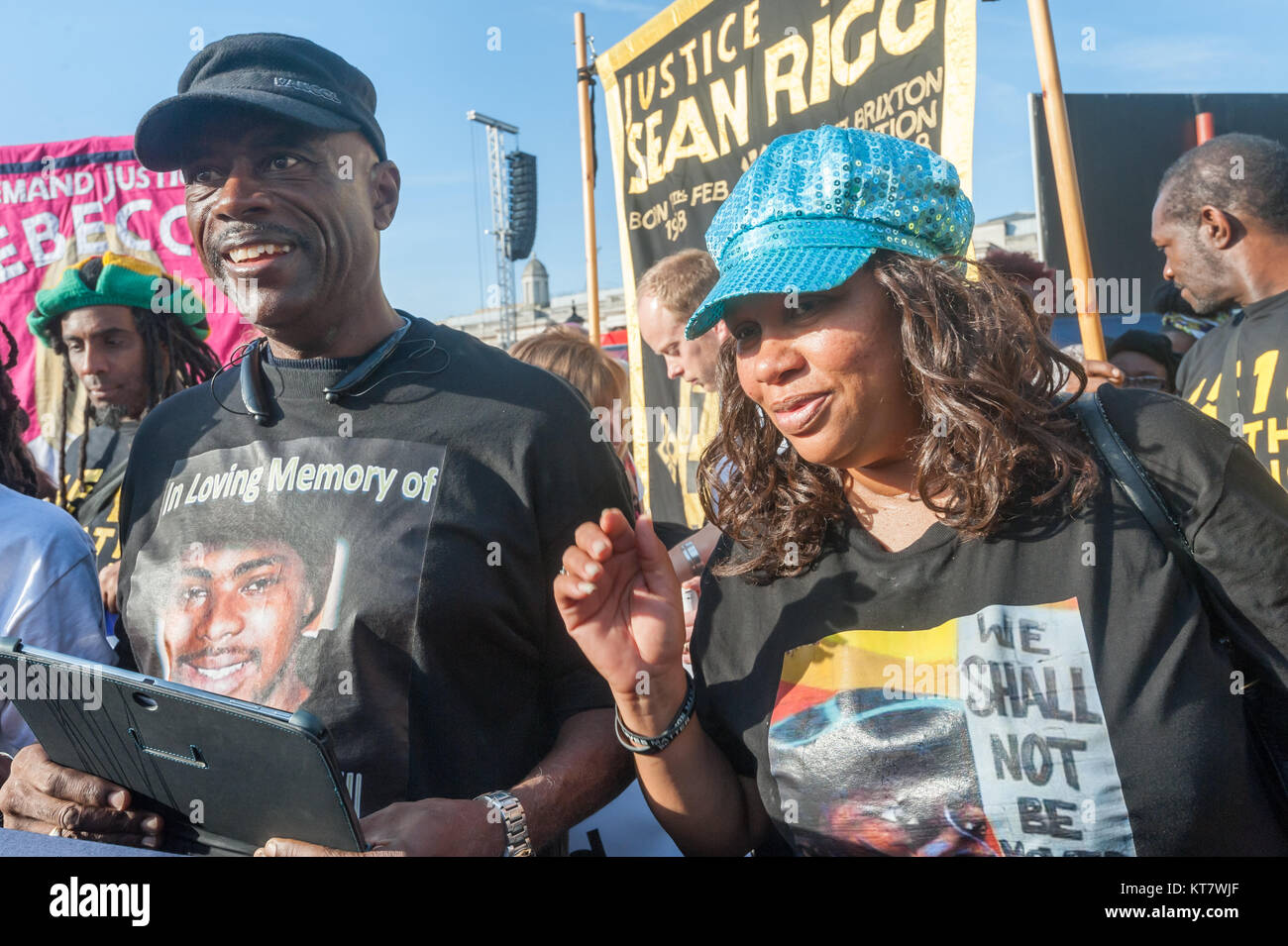 Cephus 'Uncle Bobby' Johnson and 'Aunty Betty' at the start of the annual march by Families and - Stock Image