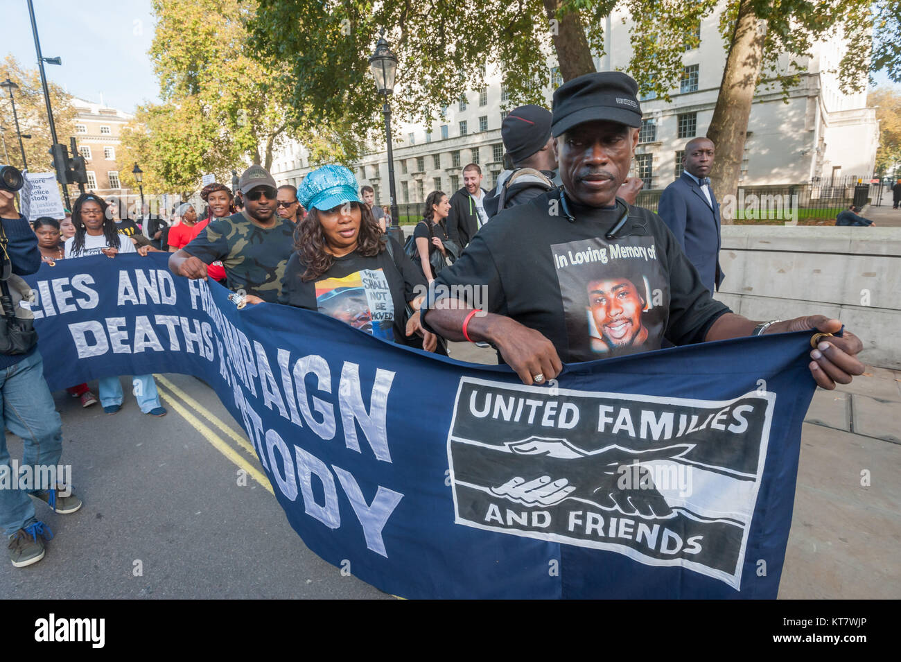 Cephus 'Uncle Bobby' Johnson and 'Aunty Betty' followed by Shaun Hall, the brother of Mark Duggan - Stock Image