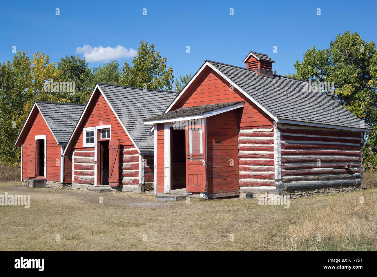 Ranch storage sheds built in the late 1800s at the Bar U Ranch - Stock Image