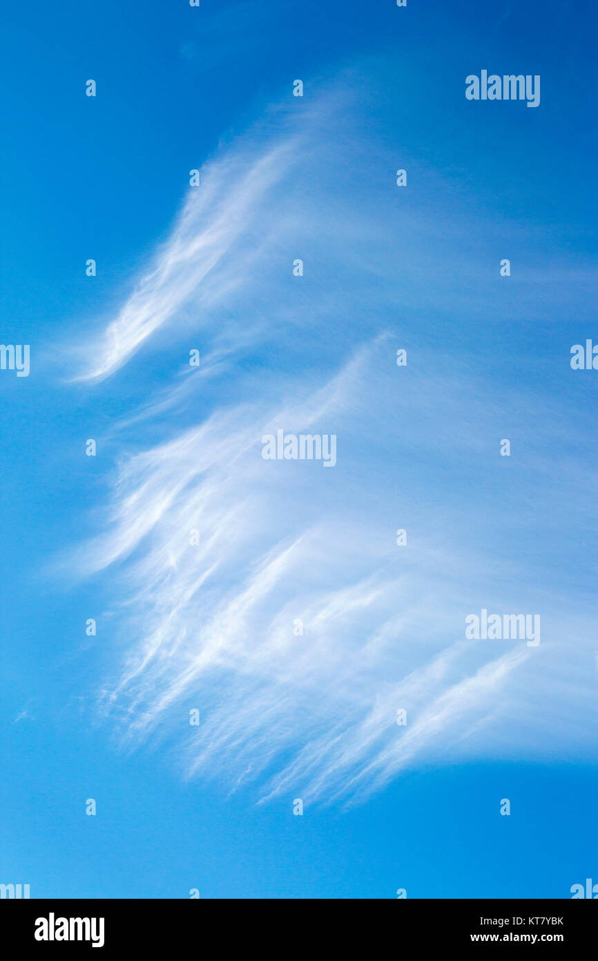 Cirrus clouds in blue sky - Stock Image