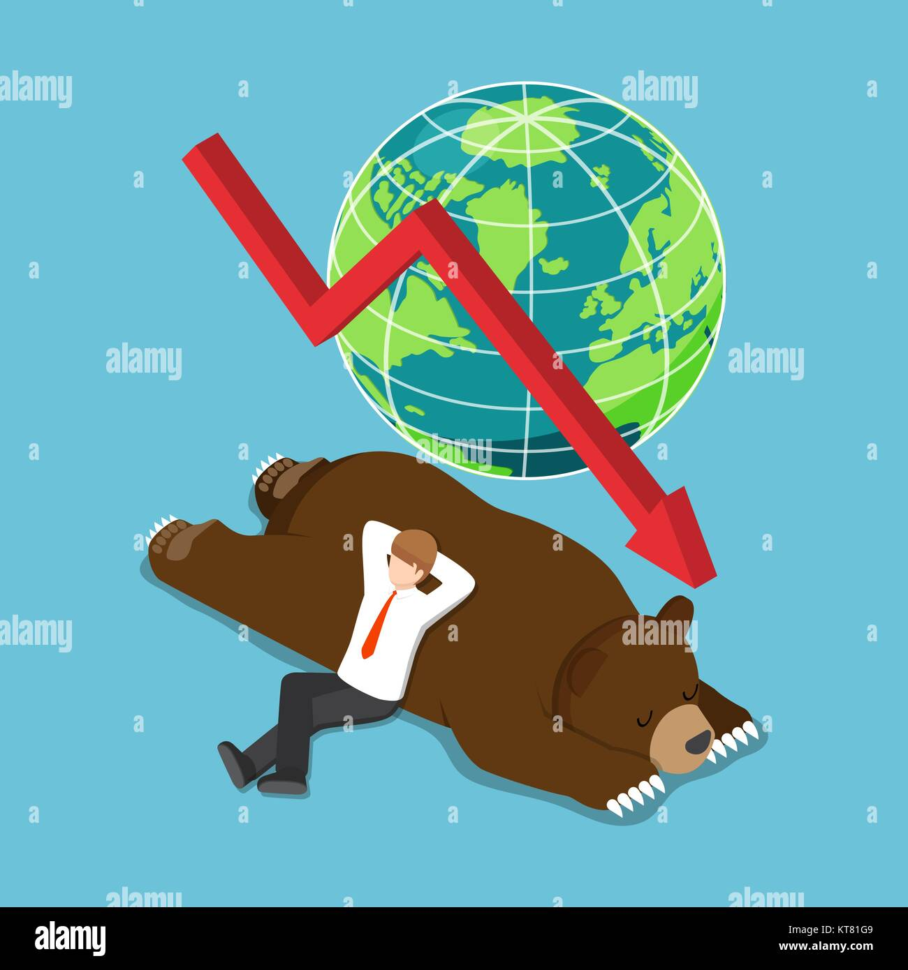 Flat 3d isometric businessman lay down on sleeping bear. bearish stock market and financial concept. - Stock Vector