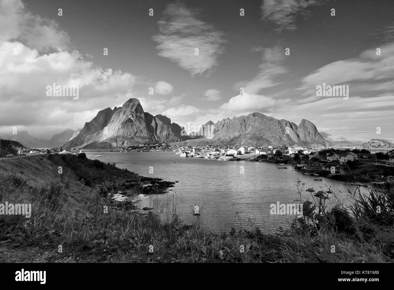 Norway village on a fjord. Nordic sunny summer day. - Stock Image