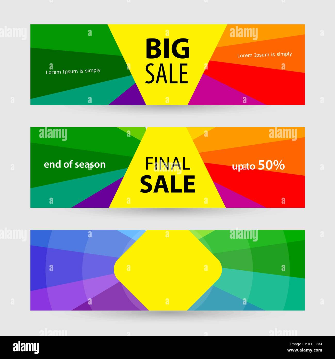 Horizontal Banners big sale and final sale. Abstract vector back Stock Vector