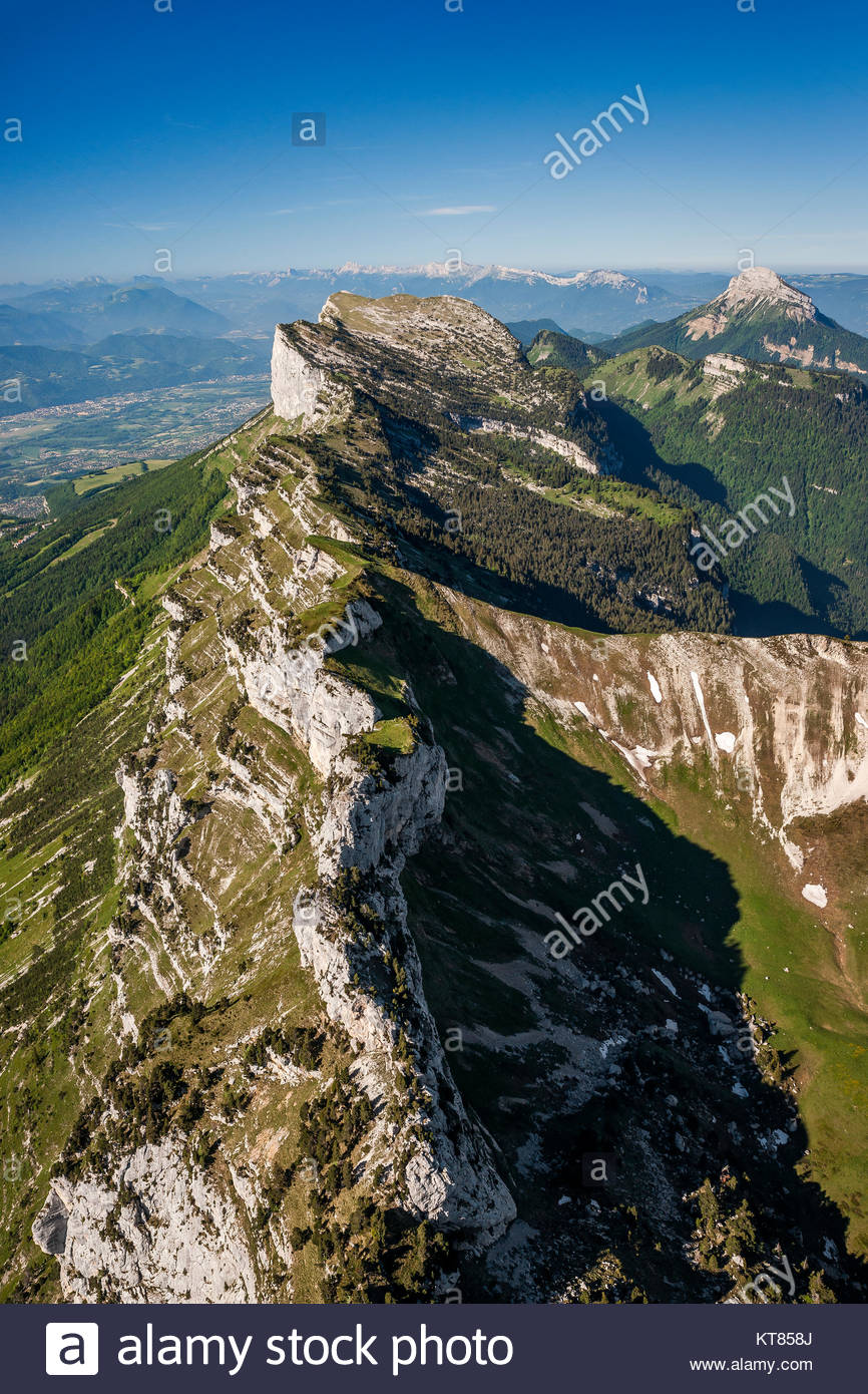 Aerial view of the Col de Bellefont (Bellefont pass) in the Chartreuse mountain range and natural park near Grenoble Stock Photo