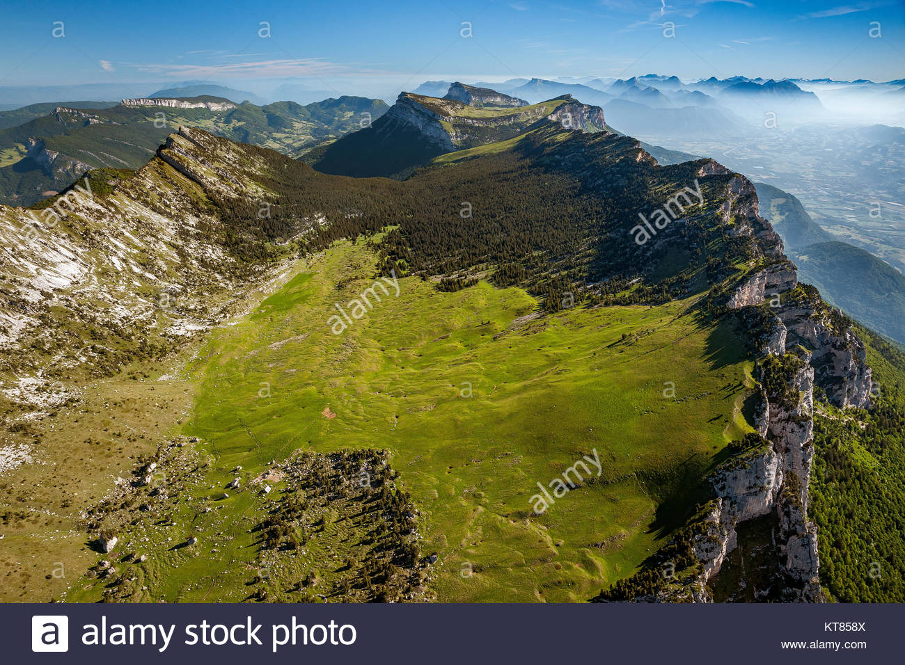 View from above the Réserve naturelle des Hauts de Chartreuse in the Chartreuse mountain range and natural park Stock Photo
