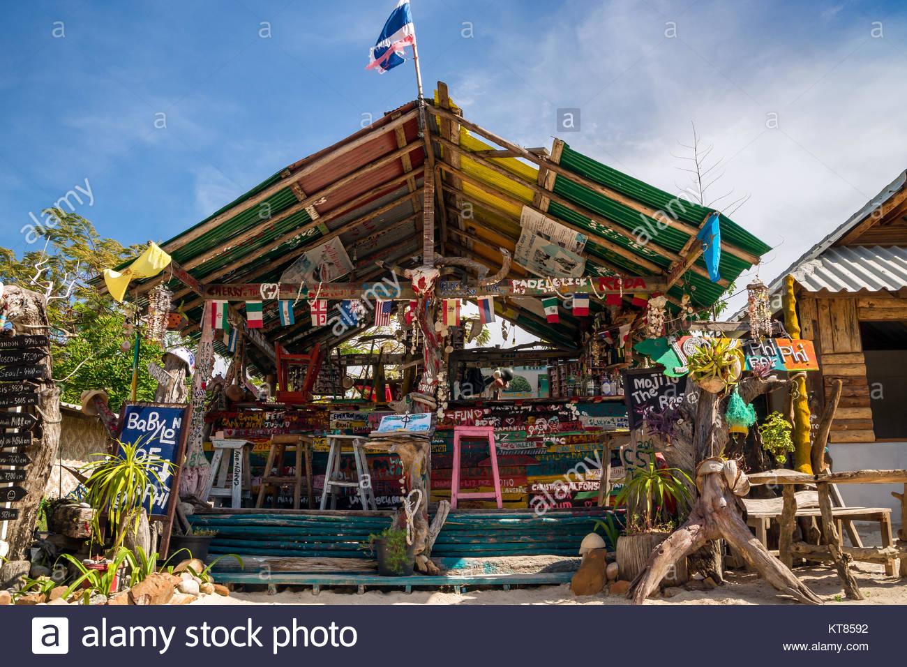 Bar on Koh Phi Phi Don island - Thailand Stock Photo