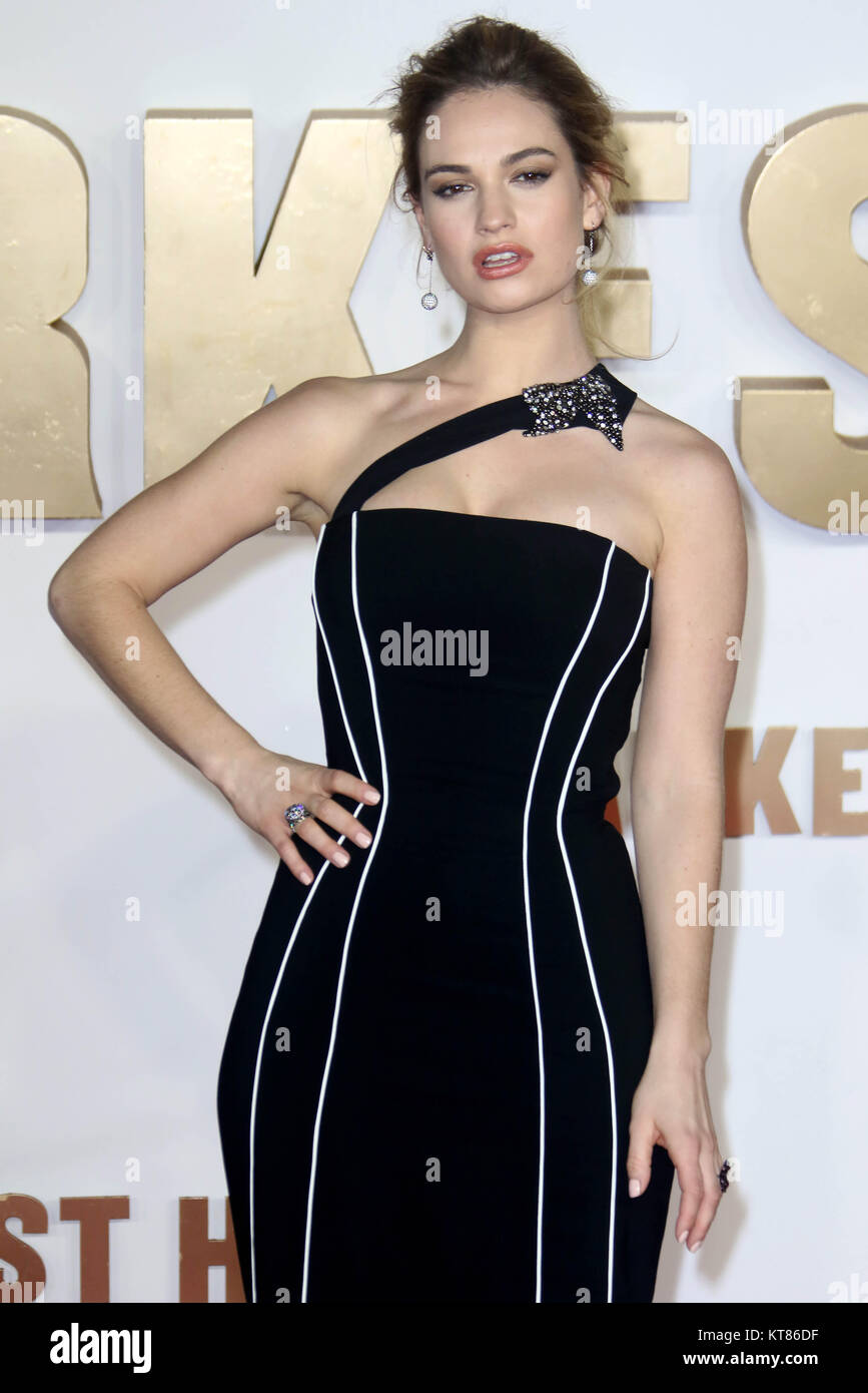 Dec 11, 2017 - Lily James attending 'Darkest Hour' UK Premiere at Odeon Leicester Square in London, England, - Stock Image